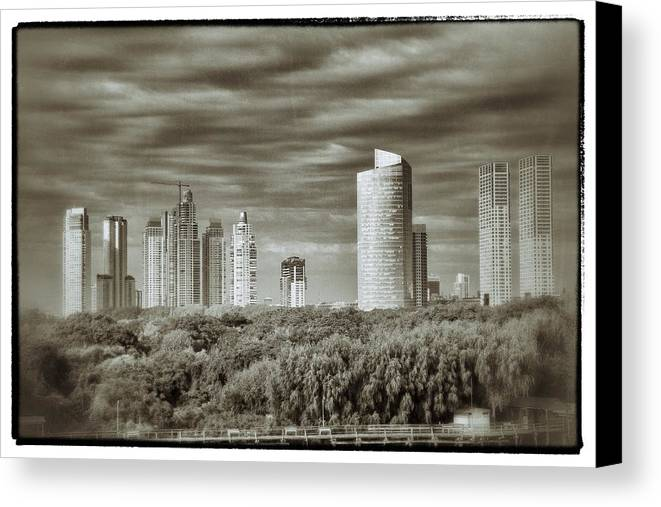 Buenos Aires Canvas Print featuring the relief Modern Buenos Aires Black And White by For Ninety One Days