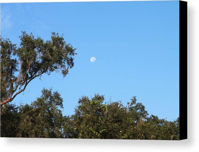 Moon Canvas Print featuring the photograph Moon Over Brandon by Paula Pizarro