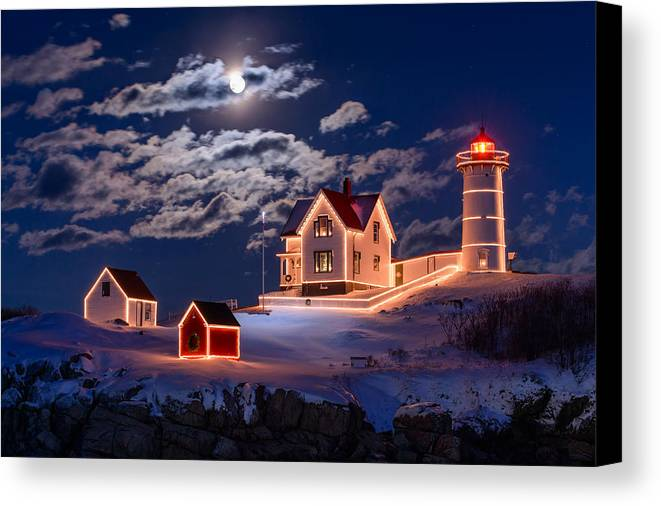 Cape Neddick Canvas Print featuring the photograph Moon Over Nubble by Michael Blanchette