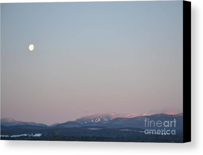 New England Canvas Print featuring the photograph Moonset Over Mt. Mansfield by Susan Russo