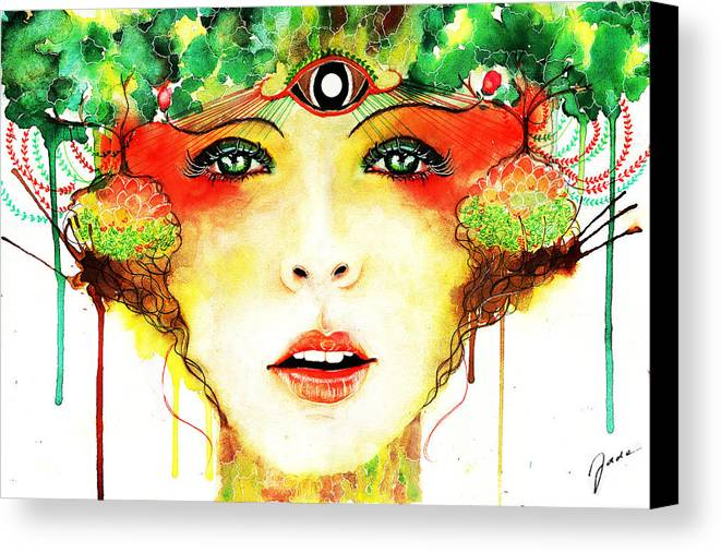 Watercolor Canvas Print featuring the painting Mori by Elisabeth Vania