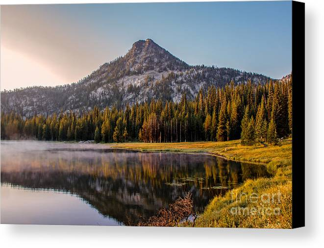 Wallowa Mountains Canvas Print featuring the photograph Morning Mist by Robert Bales