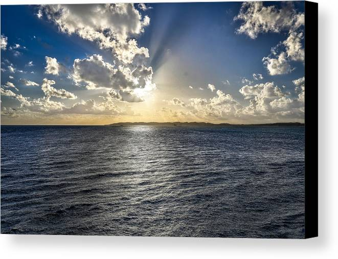 Sun Canvas Print featuring the photograph Morning Sun Punching Through The Clouds In St. Croix by Craig Bowman