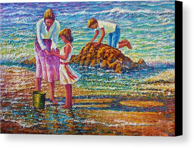 Seascape Mother Children Water Waves Sea Ocean Coast Sand Beach Rocks Playing Colors Shimmer Sparkle Reflections Wind Dress Ribbons Hair Tan Bodies Pale Bucket Pond Feet Bare Foam Crashing Canvas Print featuring the painting Mother And Child by Joseph  Ruff