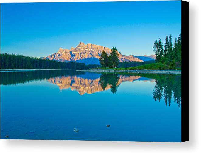 Landscape Canada Rocky Mountain Banff Two Jack Lake Water Reflection Mount Rundle Canvas Print featuring the photograph Mount Rundle At Jack Lake by Yi Luo