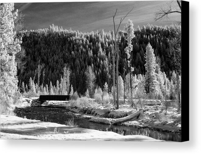 Montana Canvas Print featuring the photograph Mountain Bridge by Paul Bartoszek