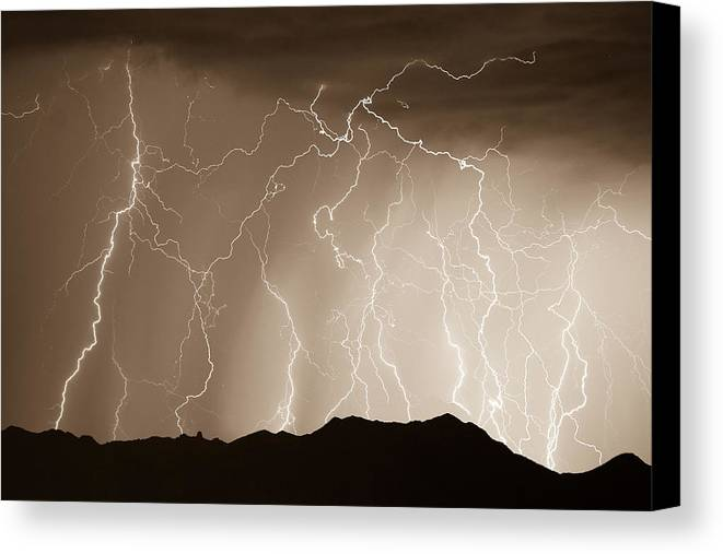 Lightning Canvas Print featuring the photograph Mountain Storm - Sepia Print by James BO Insogna