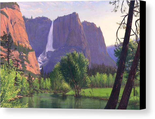 Waterfall Canvas Print featuring the painting Mountains Waterfall Stream Western Mountain Landscape Oil Painting by Walt Curlee