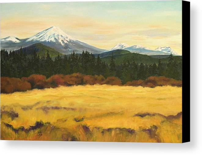 Landscapes Canvas Print featuring the painting Mt. Bachelor by Donna Drake