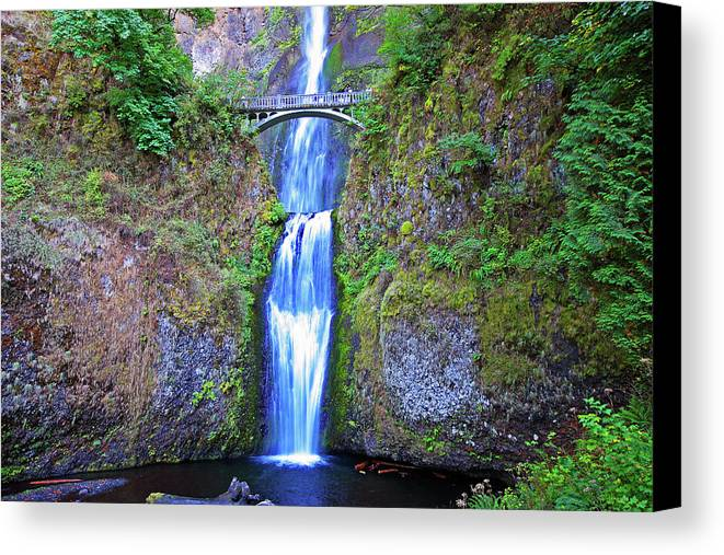 Waterfalls Canvas Print featuring the photograph Multnomah Falls by Peter Tellone
