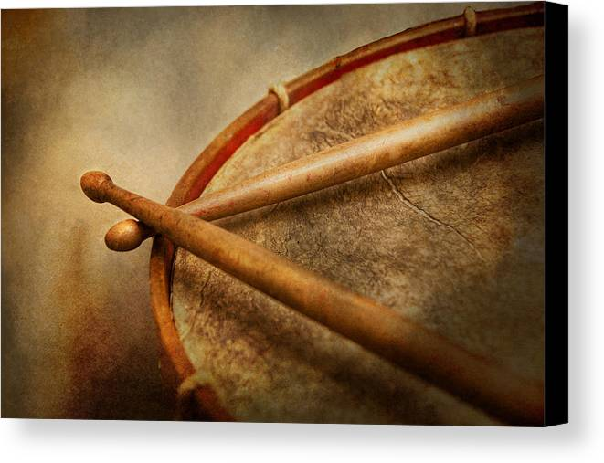 Hdr Canvas Print featuring the photograph Music - Drum - Cadence by Mike Savad