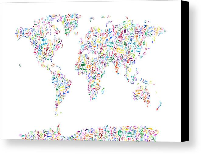 world map canvas print featuring the digital art music notes map of the world by michael
