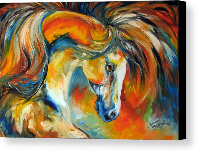 Equine Canvas Print featuring the painting Mustang West by Marcia Baldwin