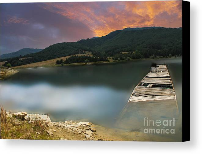 Landscape Canvas Print featuring the photograph Mystery Boat by Tsvetan Babechki