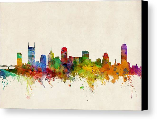 Watercolour Canvas Print featuring the digital art Nashville Tennessee Skyline by Michael Tompsett