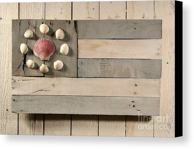Wood Canvas Print featuring the sculpture Nautical Wood Flag 01 by John Turek