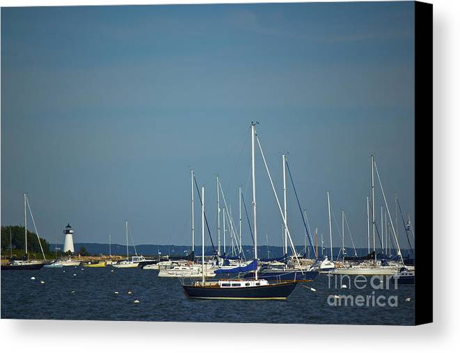 Sailboats Canvas Print featuring the photograph Ned's Point Lighthouse With Sailboats by Amazing Jules