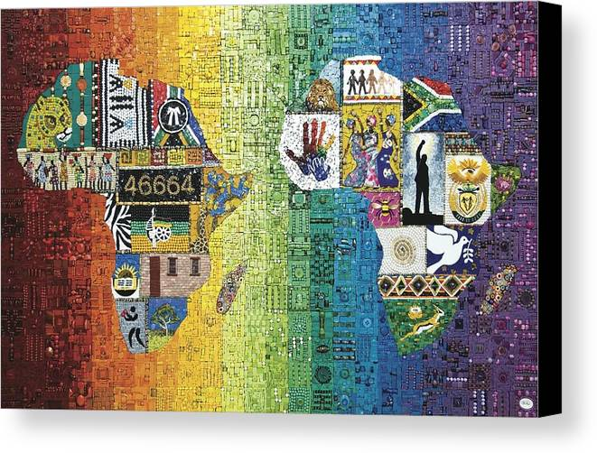 Mosaic Canvas Print featuring the mixed media Nelson Mandela by Genna Wise