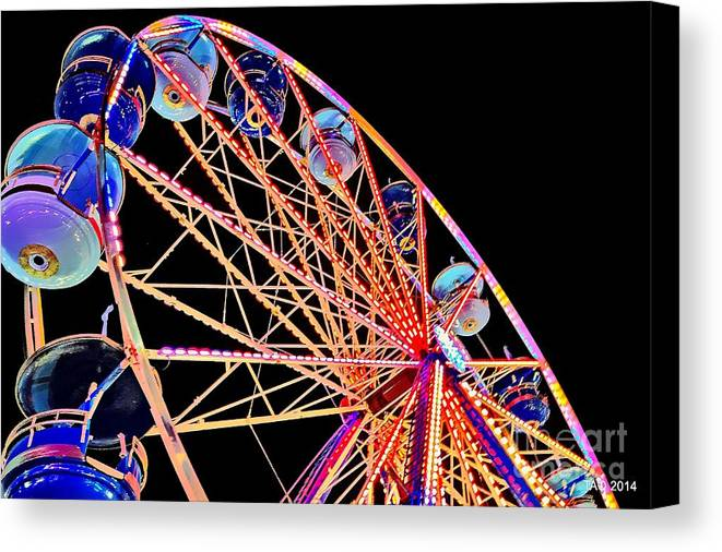Ferris Wheel Canvas Print featuring the photograph Neon Spin by Tami Quigley
