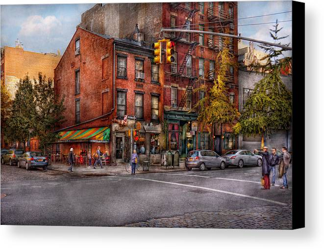New York Canvas Print featuring the photograph New York - City - Corner Of One Way And This Way by Mike Savad