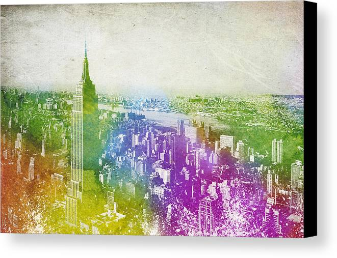 New York Canvas Print featuring the digital art New York City Skyline by Aged Pixel