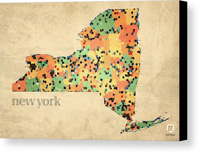 New York Canvas Print featuring the mixed media New York State Map Crystalized Counties On Worn Canvas By Design Turnpike by Design Turnpike