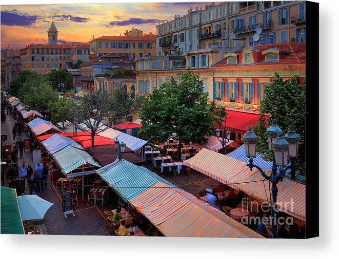 Cote D'azur Canvas Print featuring the photograph Nice Flower Market by Inge Johnsson
