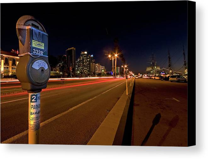 San Diego Canvas Print featuring the photograph Night Parking Meter by Peter Tellone