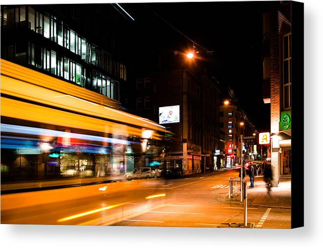 Bus Canvas Print featuring the photograph Night Scenery At The Crossroads - Bus by Frank Gaertner
