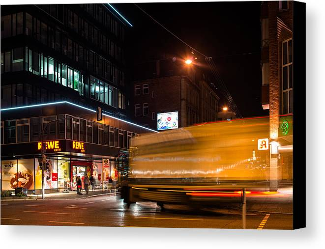 Truck Canvas Print featuring the photograph Night Scenery At The Crossroads - Truck by Frank Gaertner