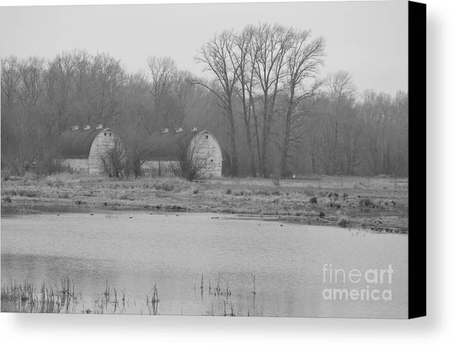 Landscape Canvas Print featuring the photograph Nisqually Twin Barns by Jan Noblitt