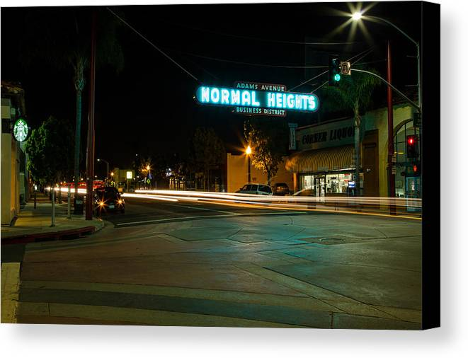 Normal Heights Canvas Print featuring the photograph Normal Heights Neon by John Daly