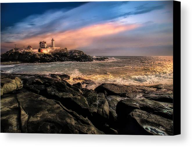 Nubble Canvas Print featuring the photograph Nubble Lighthouse Winter Solstice Sunset by Bob Orsillo