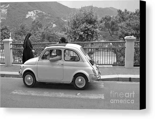 Nun Canvas Print featuring the photograph Nun And Classic Fiat Car by James Thomas
