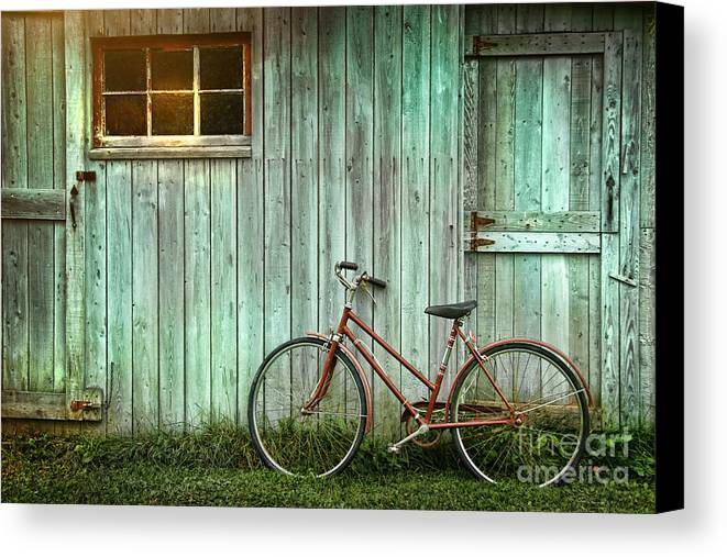 Autumn Canvas Print featuring the photograph Old Bicycle Leaning Against Grungy Barn by Sandra Cunningham