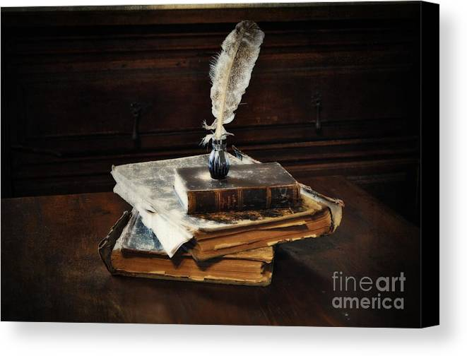 Old Books And A Quill Canvas Print featuring the photograph Old Books And A Quill by Mary Machare