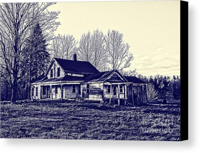 Blueprint Canvas Print featuring the photograph Old Farm House by Jim Lepard