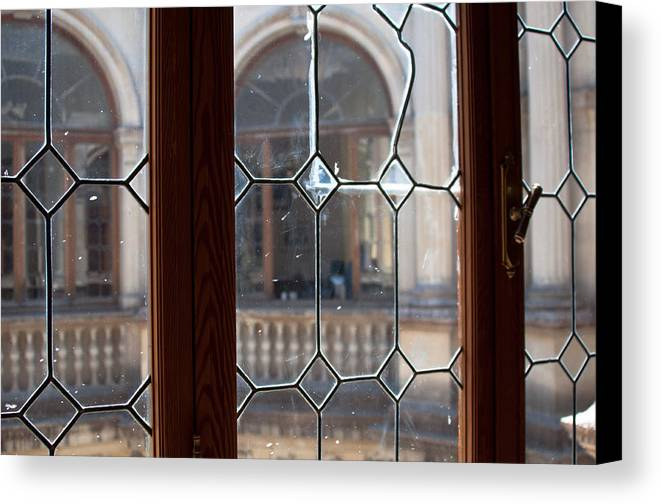 Window Canvas Print featuring the photograph Old Lead Glass Window by Frank Gaertner