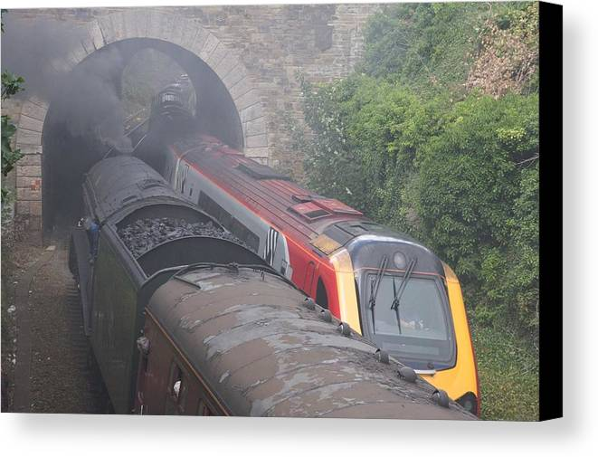 Trains Canvas Print featuring the photograph Old Meets New. by Christopher Rowlands