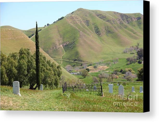 Bayarea Canvas Print Featuring The Photograph Old Rose Hill Cemetery Atop Rolling Hills Landscape Of