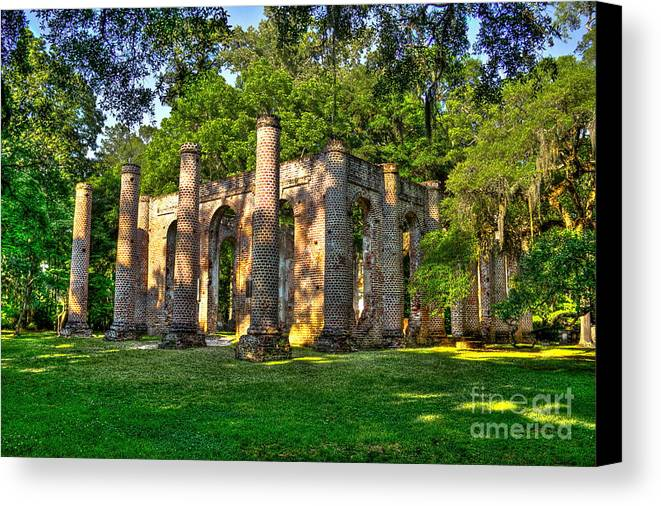 Reid Callaway Old Sheldon Church Canvas Print featuring the photograph Old Sheldon Church Ruins In South Carolina by Reid Callaway