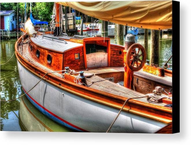 Alabama Canvas Print featuring the digital art Old Wooden Sailboat by Michael Thomas