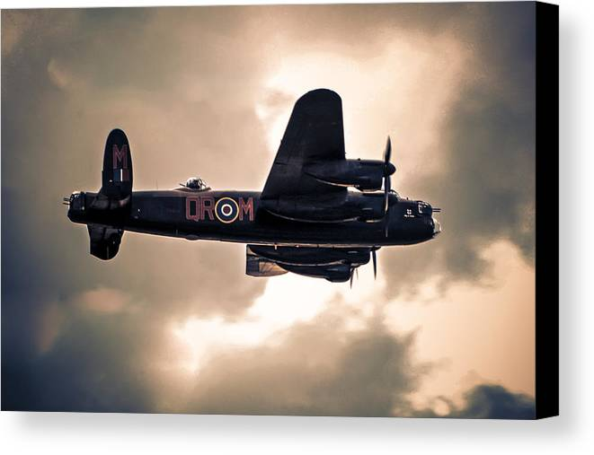 Lancaster; Bomber; Raf; Heavy; Wwii; Ww2; Arthur; Harris; Command; Aeroplane; Airborne; Aircraft; Aviation; Flight; Flying; Planes; Night; Sky; Target; Raid Canvas Print featuring the photograph On Course by Chris Smith