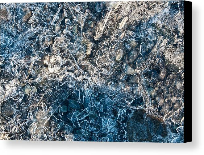Ice Canvas Print featuring the photograph On Rocks by Jim Southwell