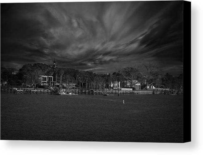 Black And White Canvas Print featuring the photograph On The Other Side... by Mario Celzner