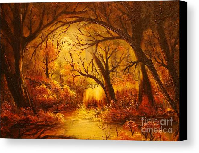 Landscape Canvas Print featuring the painting Hot Forest- Original Sold- Buy Giclee Print Nr 29 Of Limited Edition Of 40 Prints by Eddie Michael Beck