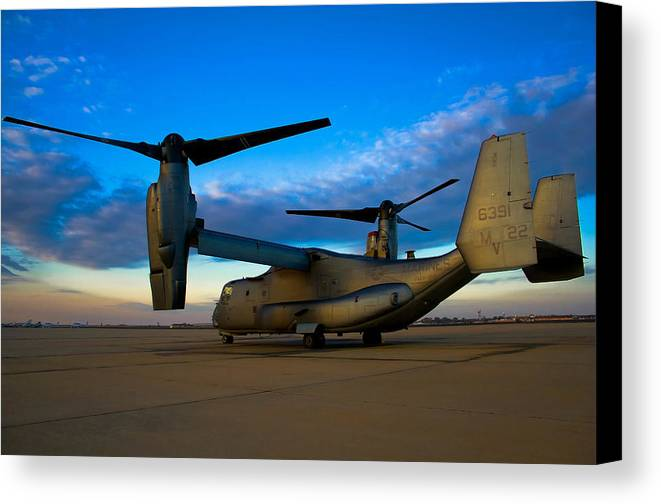 V22 Canvas Print featuring the photograph Osprey Sunrise Series 1 Of 4 by Ricky Barnard