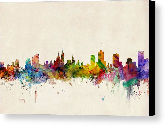 Ottawa Canvas Print featuring the digital art Ottawa Skyline by Michael Tompsett