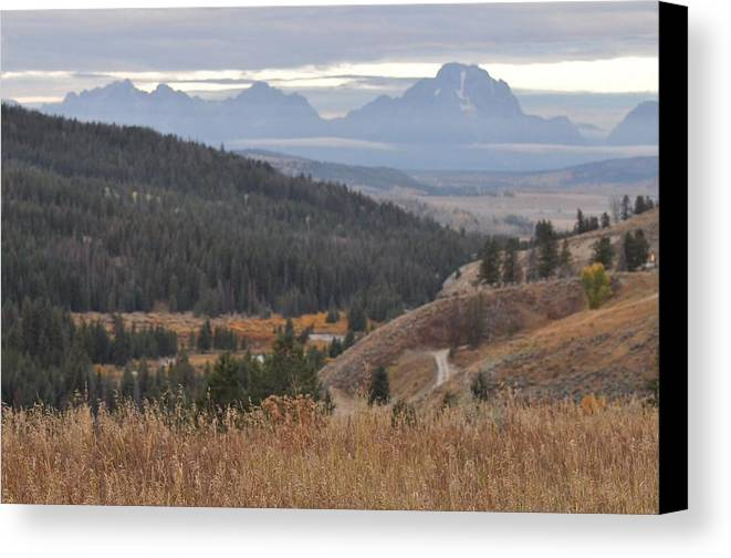 Tetons Canvas Print featuring the photograph Over Looking Grand Tetons by Teresa Howell