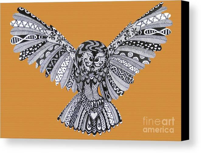 Edinburgh Festival Canvas Print featuring the drawing Owl In Flight Orange by Karen Larter